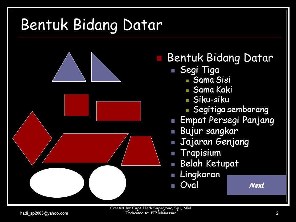 hadi_sp2003@yahoo.com Created by: Capt. Hadi Supriyono, Sp1, MM Dedicated to: PIP Makassar2 Bentuk Bidang Datar  Bentuk Bidang Datar  Segi Tiga  Sa