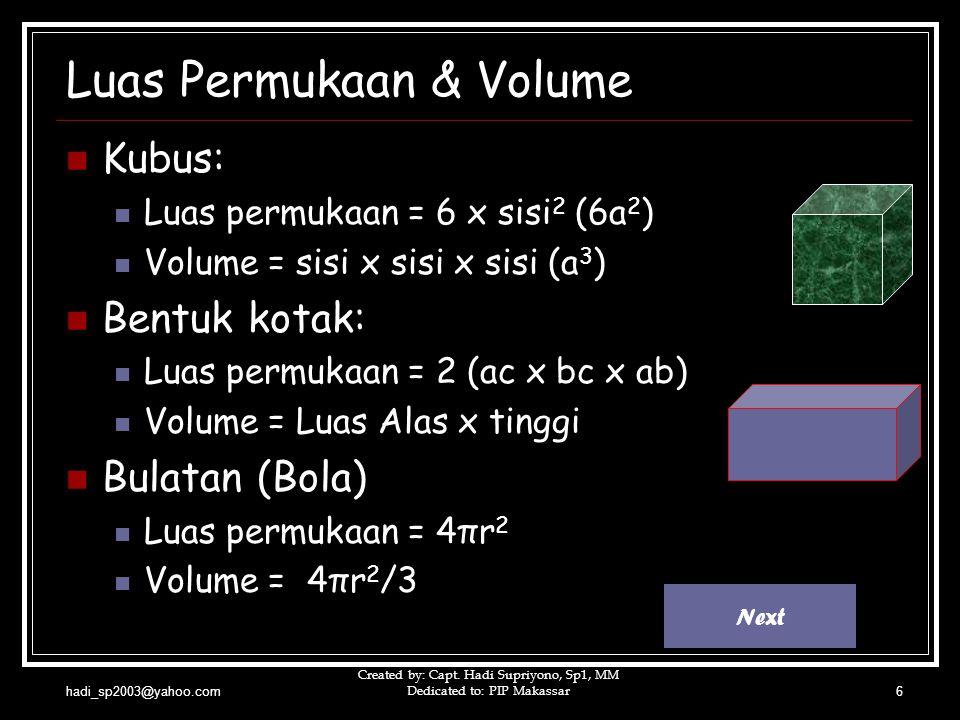 hadi_sp2003@yahoo.com Created by: Capt. Hadi Supriyono, Sp1, MM Dedicated to: PIP Makassar6 Luas Permukaan & Volume  Kubus:  Luas permukaan = 6 x si