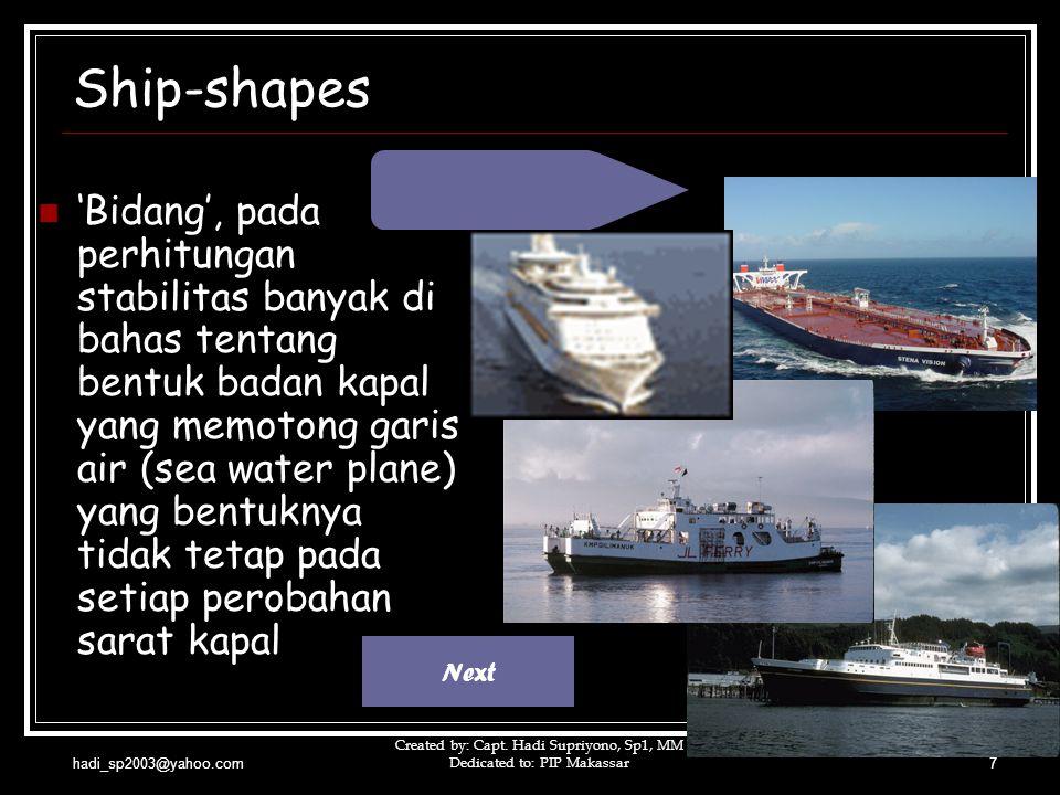 hadi_sp2003@yahoo.com Created by: Capt. Hadi Supriyono, Sp1, MM Dedicated to: PIP Makassar7 Ship-shapes  'Bidang', pada perhitungan stabilitas banyak