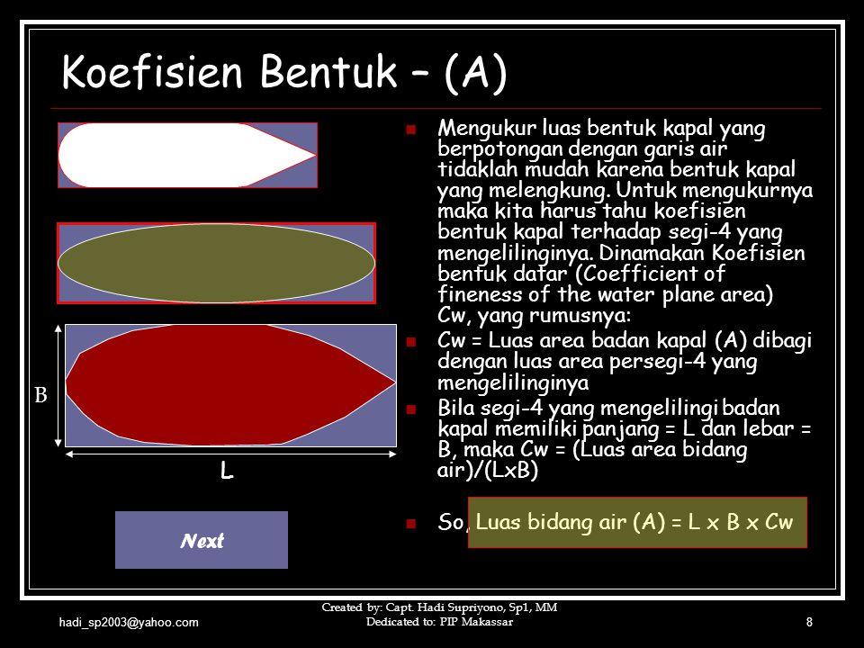 hadi_sp2003@yahoo.com Created by: Capt. Hadi Supriyono, Sp1, MM Dedicated to: PIP Makassar8  Mengukur luas bentuk kapal yang berpotongan dengan garis