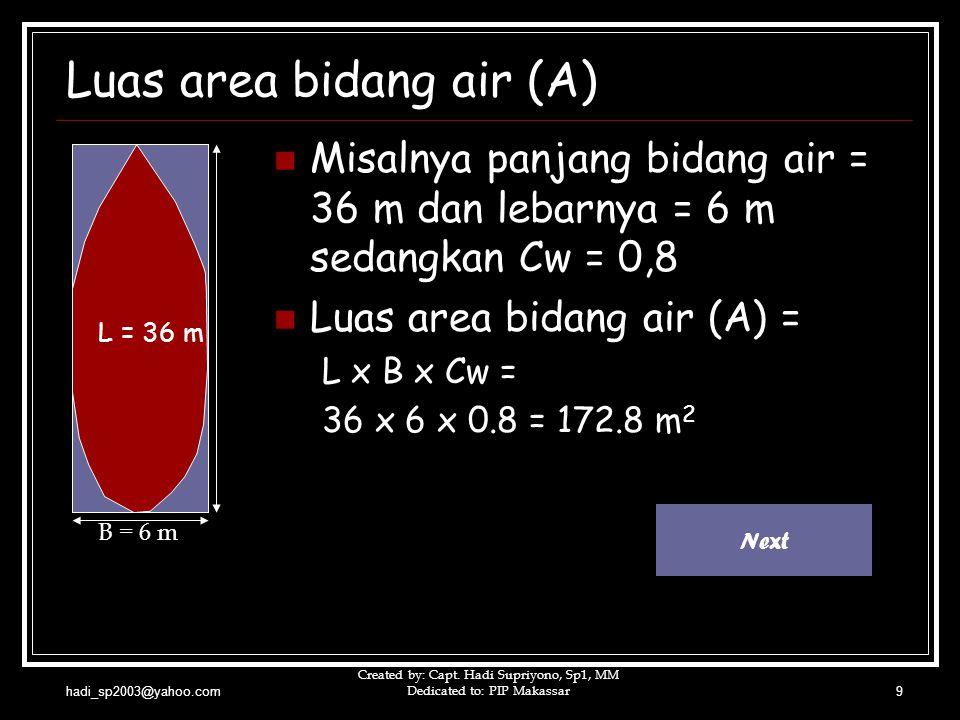 hadi_sp2003@yahoo.com Created by: Capt. Hadi Supriyono, Sp1, MM Dedicated to: PIP Makassar9 Luas area bidang air (A)  Misalnya panjang bidang air = 3