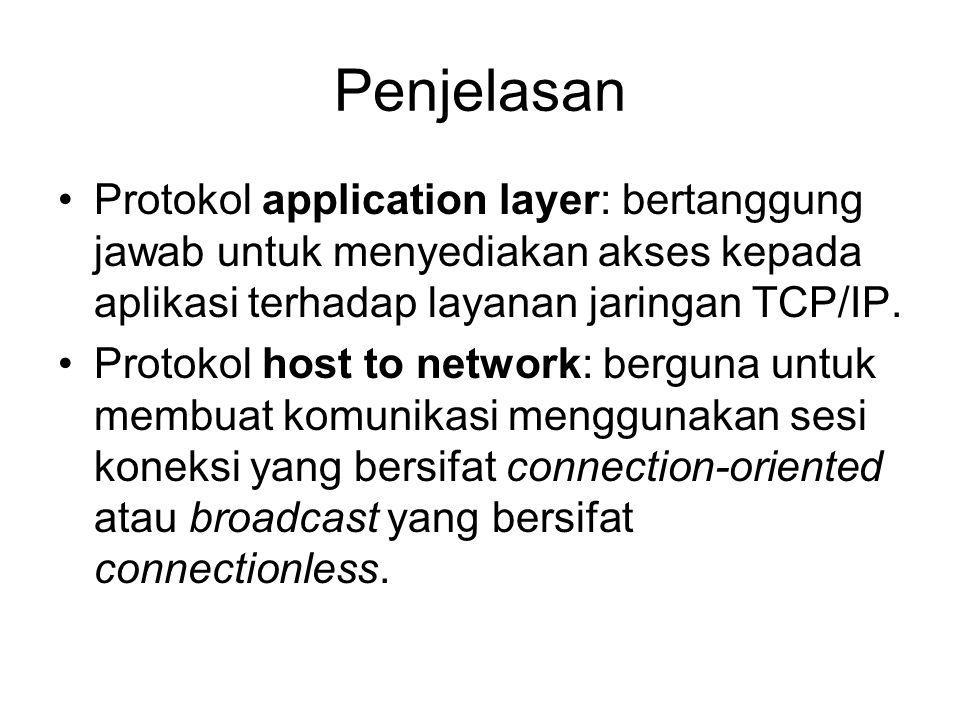 Penjelasan •Protokol application layer: bertanggung jawab untuk menyediakan akses kepada aplikasi terhadap layanan jaringan TCP/IP. •Protokol host to