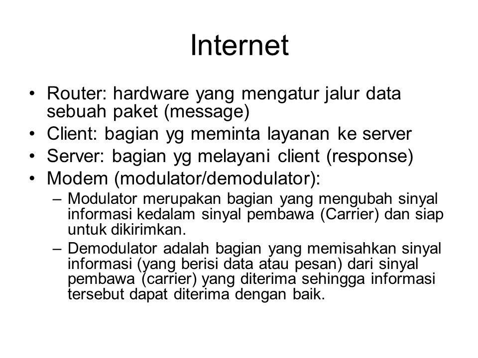 •DNS : Domain Name Services –Mengasosiasikan setiap node (komputer) yg terhubung ke Internet dengan sebuah nama yg human readable –Mis: 202.134.201.137 => google.com •Protocol: aturan komunikasi data •TCP/IP: Transmission Control Protocol / Internet Protocol –Protocol untuk Internet