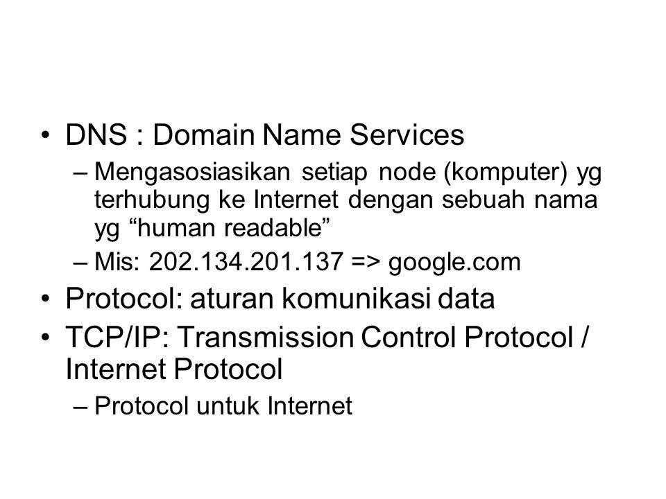"•DNS : Domain Name Services –Mengasosiasikan setiap node (komputer) yg terhubung ke Internet dengan sebuah nama yg ""human readable"" –Mis: 202.134.201."