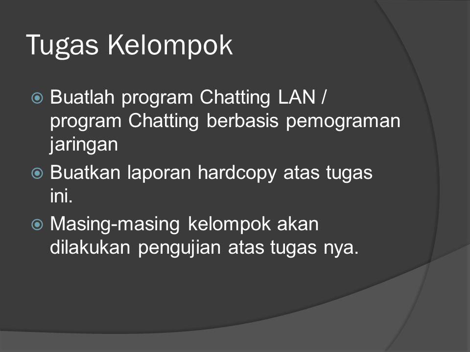 Tugas Kelompok  Buatlah program Chatting LAN / program Chatting berbasis pemograman jaringan  Buatkan laporan hardcopy atas tugas ini.  Masing-masi