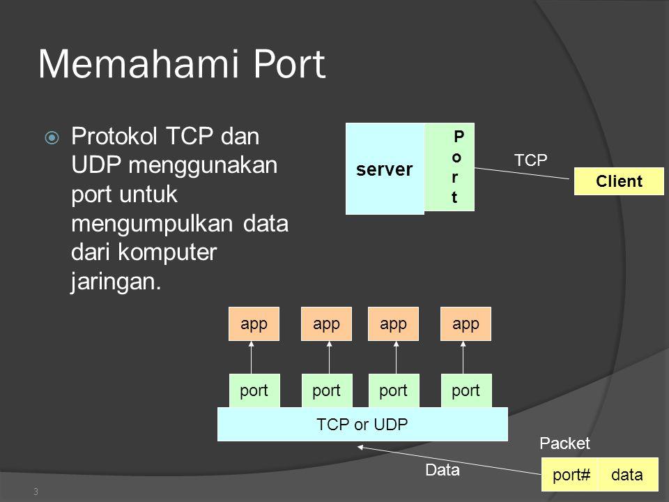 4 Memahami Port  Port sebuah terminal virtual yang digambarkan dengan sebuah Nilai (integer) sebagai tempat keluar masuk data  Beberapa port telah direkomendasikan sebagai sebuah services antara lain :  ftp 21/tcp  telnet 23/tcp  smtp 25/tcp  login 513/tcp  User level process/services generally use port number value >= 1024