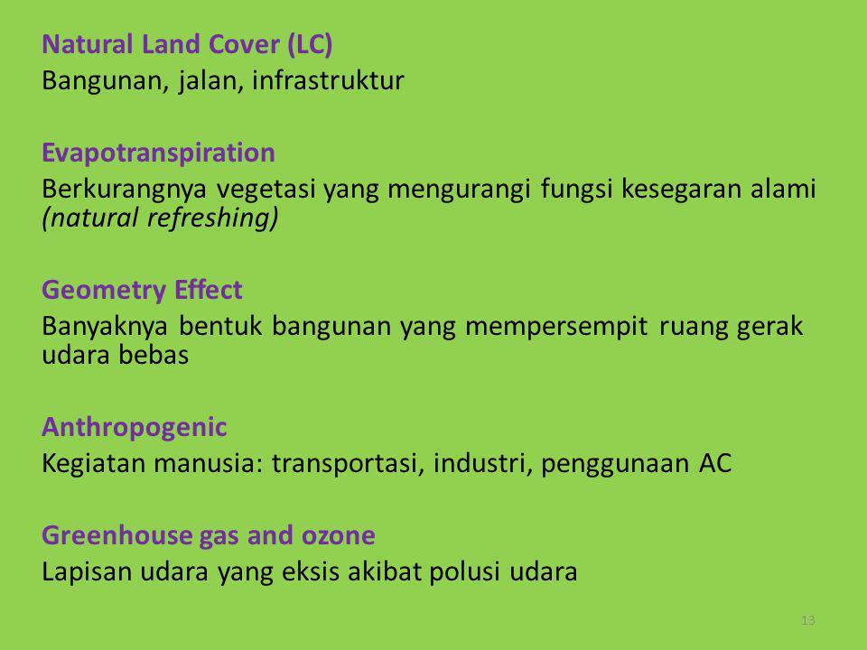 13 Natural Land Cover (LC) Bangunan, jalan, infrastruktur Evapotranspiration Berkurangnya vegetasi yang mengurangi fungsi kesegaran alami (natural ref