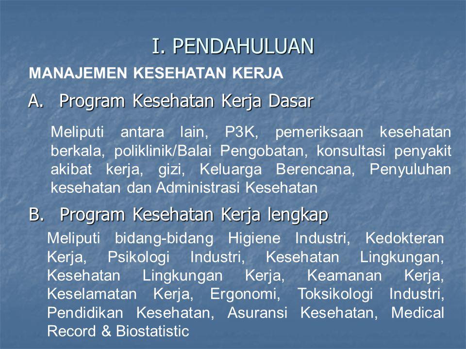 I. PENDAHULUAN A.Program Kesehatan Kerja Dasar Meliputi antara lain, P3K, pemeriksaan kesehatan berkala, poliklinik/Balai Pengobatan, konsultasi penya