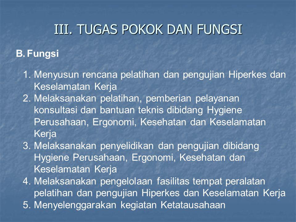 III. TUGAS POKOK DAN FUNGSI B.Fungsi 1.Menyusun rencana pelatihan dan pengujian Hiperkes dan Keselamatan Kerja 2.Melaksanakan pelatihan, pemberian pel