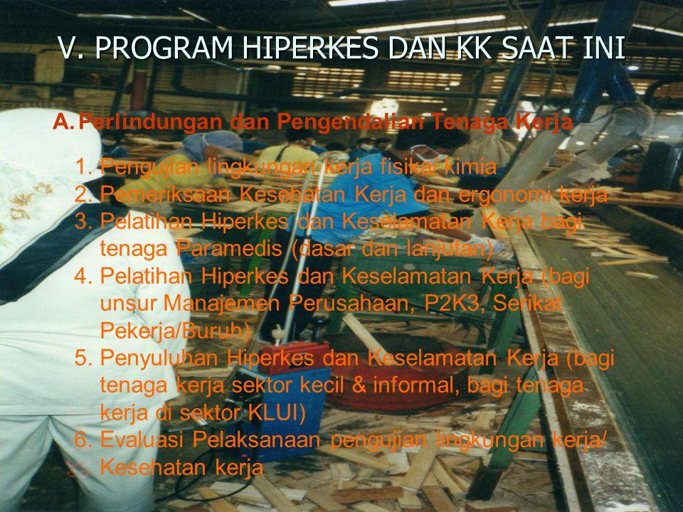 V. PROGRAM HIPERKES DAN KK SAAT INI A.Perlindungan dan Pengendalian Tenaga Kerja 1.Pengujian lingkungan kerja fisika/ kimia 2.Pemeriksaan Kesehatan Ke