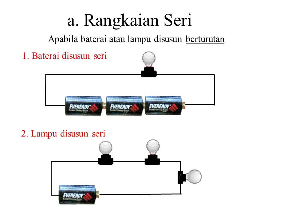 Rangkaian Listrik Rangkaian Listrik adalah cara pengaturan baterai atau lampu Ada 3 jenis Rangkaian Listrik, yaitu: 1.