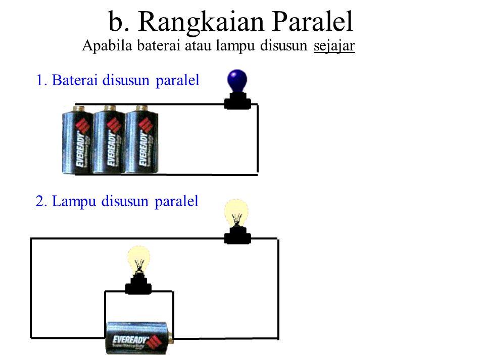 a. Rangkaian Seri Apabila baterai atau lampu disusun berturutan 1. Baterai disusun seri 2. Lampu disusun seri