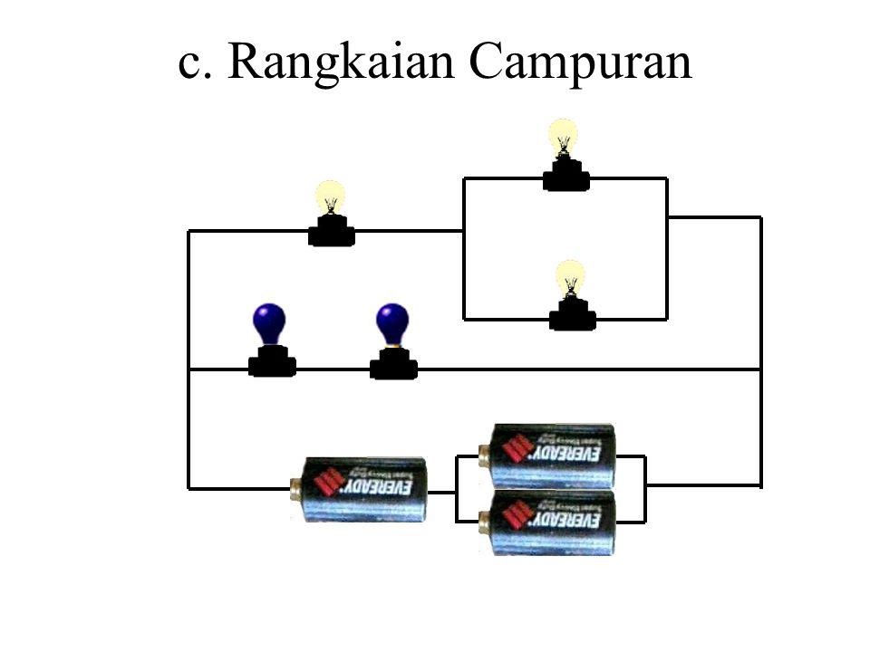 b. Rangkaian Paralel Apabila baterai atau lampu disusun sejajar 1. Baterai disusun paralel 2. Lampu disusun paralel