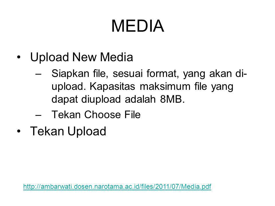 •Upload New Media –Siapkan file, sesuai format, yang akan di- upload. Kapasitas maksimum file yang dapat diupload adalah 8MB. –Tekan Choose File •Teka