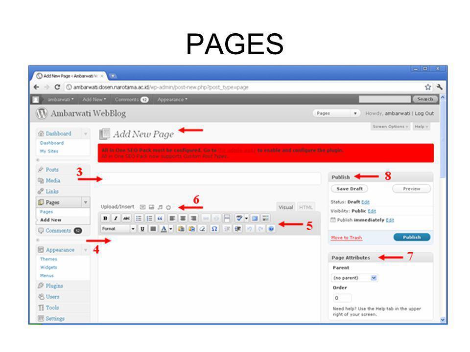 3.Ketikkan nama halaman.4.Ketikkan isi halaman yang akan ditampilkan pada blog.