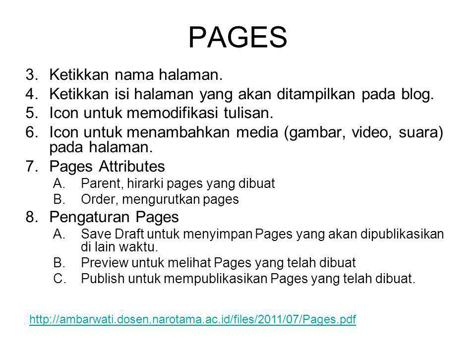 3.Ketikkan nama halaman. 4.Ketikkan isi halaman yang akan ditampilkan pada blog. 5.Icon untuk memodifikasi tulisan. 6.Icon untuk menambahkan media (ga