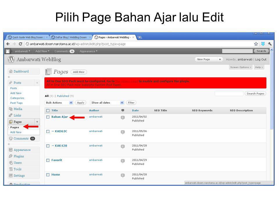 Pilih Page Bahan Ajar lalu Edit