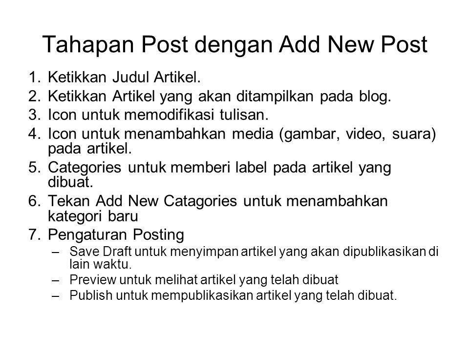 Tahapan Post dengan Add New Post 1.Ketikkan Judul Artikel. 2.Ketikkan Artikel yang akan ditampilkan pada blog. 3.Icon untuk memodifikasi tulisan. 4.Ic
