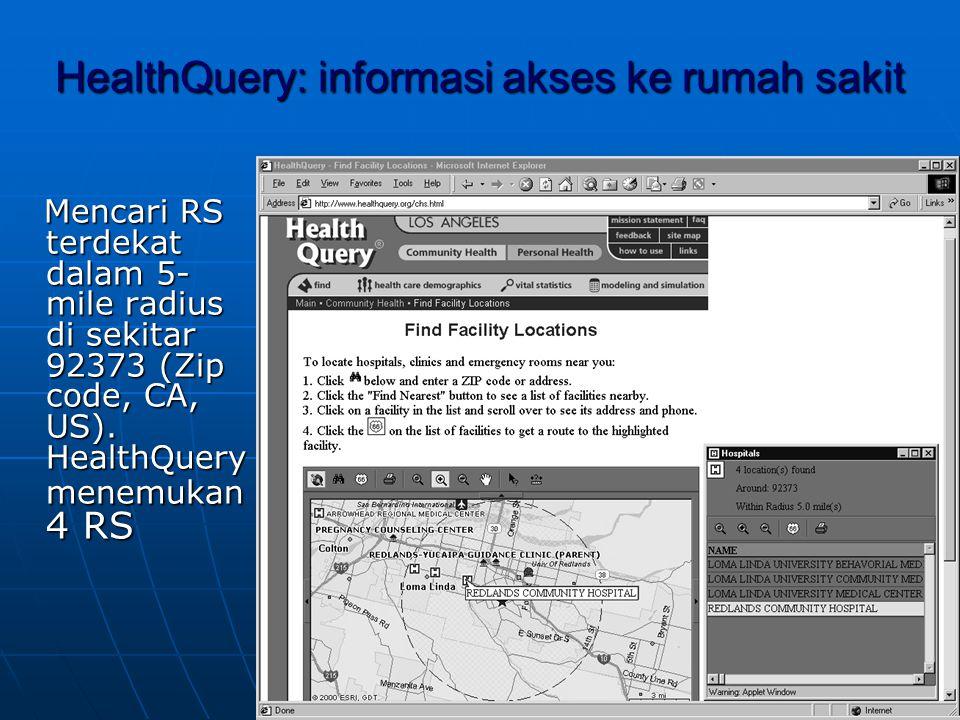 HealthQuery: informasi akses ke rumah sakit Mencari RS terdekat dalam 5- mile radius di sekitar 92373 (Zip code, CA, US).