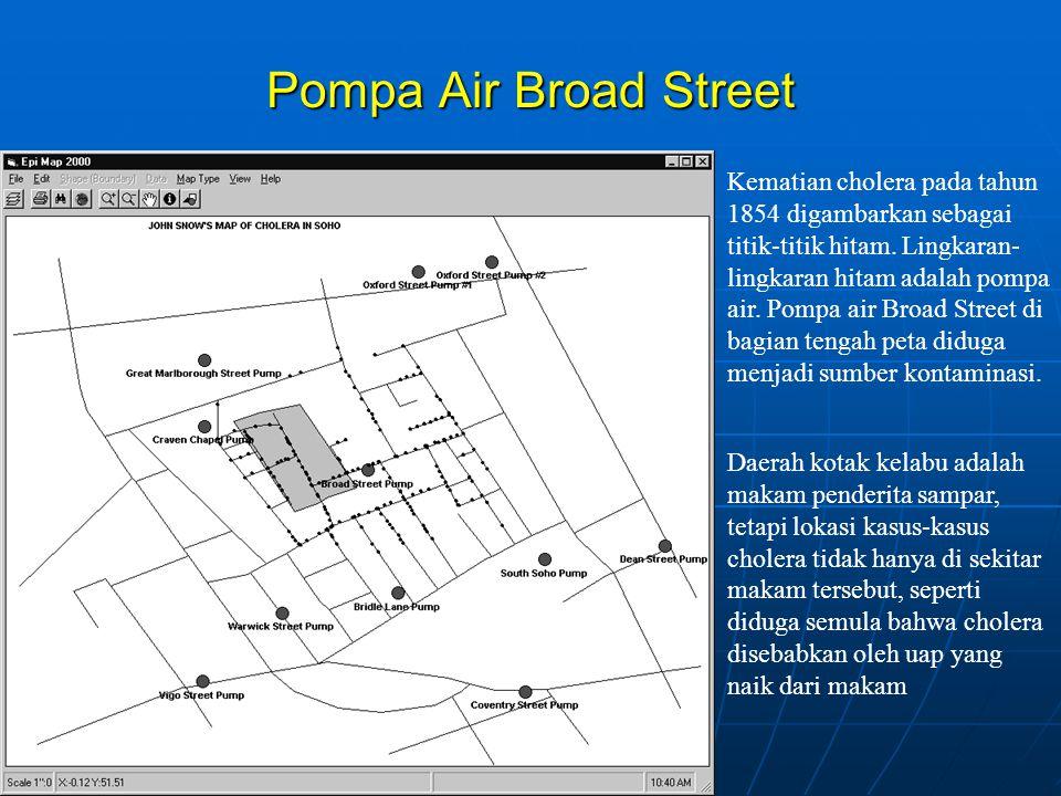 Pompa Air Broad Street Kematian cholera pada tahun 1854 digambarkan sebagai titik-titik hitam.