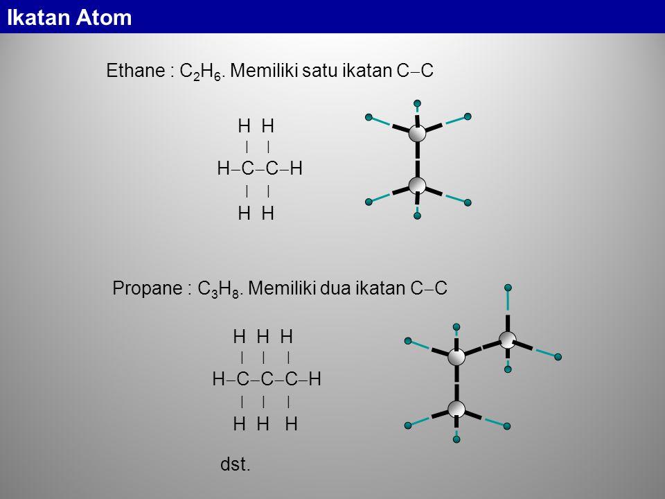 Ethane : C 2 H 6.Memiliki satu ikatan C  C H H | | H  C  C  H | | H H Propane : C 3 H 8.