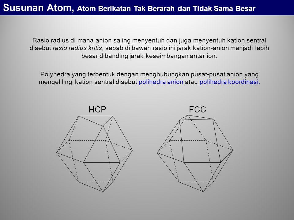Rasio radius di mana anion saling menyentuh dan juga menyentuh kation sentral disebut rasio radius kritis, sebab di bawah rasio ini jarak kation-anion