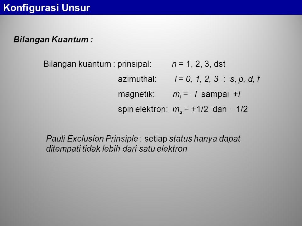 Bilangan kuantum : prinsipal: n = 1, 2, 3, dst azimuthal: l = 0, 1, 2, 3 : s, p, d, f magnetik: m l =  l sampai +l spin elektron: m s = +1/2 dan  1/2 Pauli Exclusion Prinsiple : setiap status hanya dapat ditempati tidak lebih dari satu elektron Bilangan Kuantum : Konfigurasi Unsur