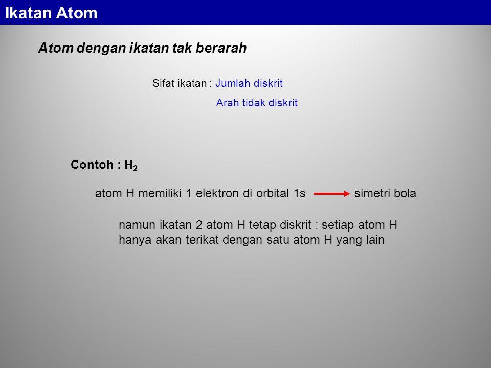 Sifat ikatan : Jumlah diskrit Arah tidak diskrit Atom dengan ikatan tak berarah Contoh : H 2 namun ikatan 2 atom H tetap diskrit : setiap atom H hanya