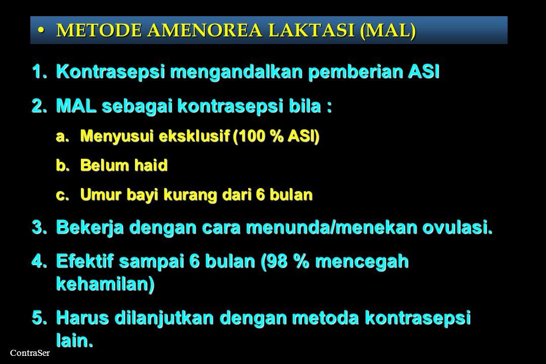 ContraSer • METODE AMENOREA LAKTASI (MAL) • KB ALAMIAH • SANGGAMA TERPUTUS • METODE BARIER • KONTRASEPSI KOMBINASI • KONTRASEPSI PROGESTIN • ALAT KONTRASEPSI DALAM RAHIM (IUD) • KONTRASEPSI MANTAP (OPERASI)