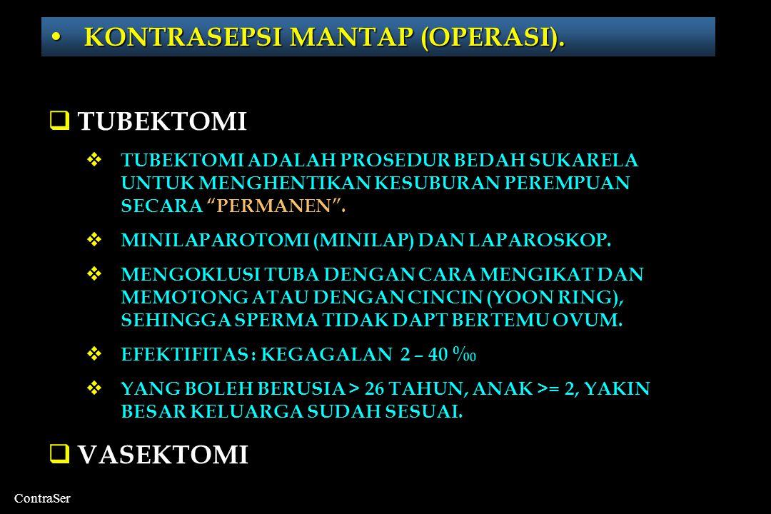 ContraSer • KONTRASEPSI MANTAP (OPERASI).