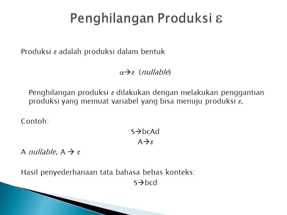 Produksi  adalah produksi dalam bentuk    (nullable) Penghilangan produksi  dilakukan dengan melakukan penggantian produksi yang memuat variabel