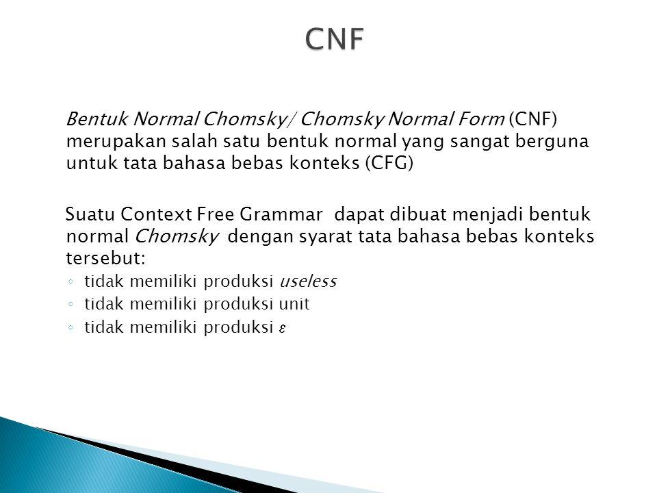 Bentuk Normal Chomsky/ Chomsky Normal Form (CNF) merupakan salah satu bentuk normal yang sangat berguna untuk tata bahasa bebas konteks (CFG) Suatu Co