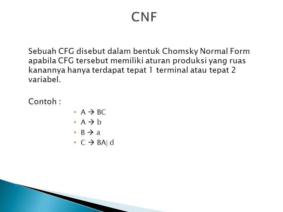 Sebuah CFG disebut dalam bentuk Chomsky Normal Form apabila CFG tersebut memiliki aturan produksi yang ruas kanannya hanya terdapat tepat 1 terminal a