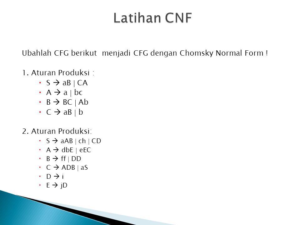Ubahlah CFG berikut menjadi CFG dengan Chomsky Normal Form ! 1. Aturan Produksi :  S  aB  CA  A  a  bc  B  BC  Ab  C  aB  b 2. Aturan Prod