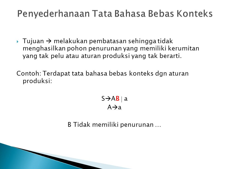  Contoh: Sebuah CFG dengan aturan produksi: S  AA  C  bd A  Bb   B  AB  d C  de  Lakukan ketiga penyederhanaan (useless, unit dan  ) !