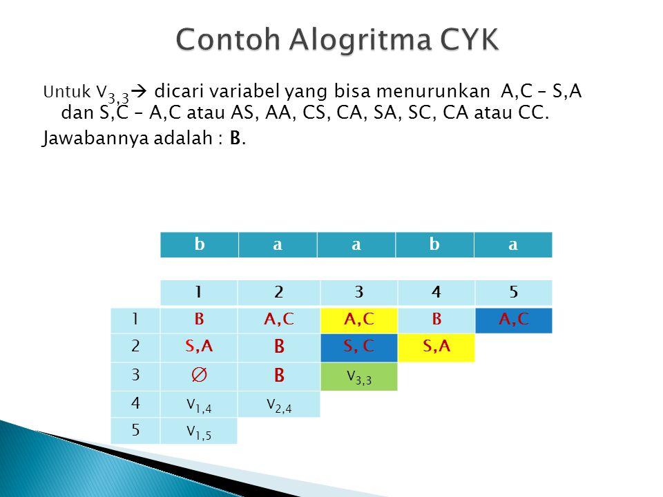 Untuk V 3,3  dicari variabel yang bisa menurunkan A,C – S,A dan S,C – A,C atau AS, AA, CS, CA, SA, SC, CA atau CC. Jawabannya adalah : B. 12345 1 BA,
