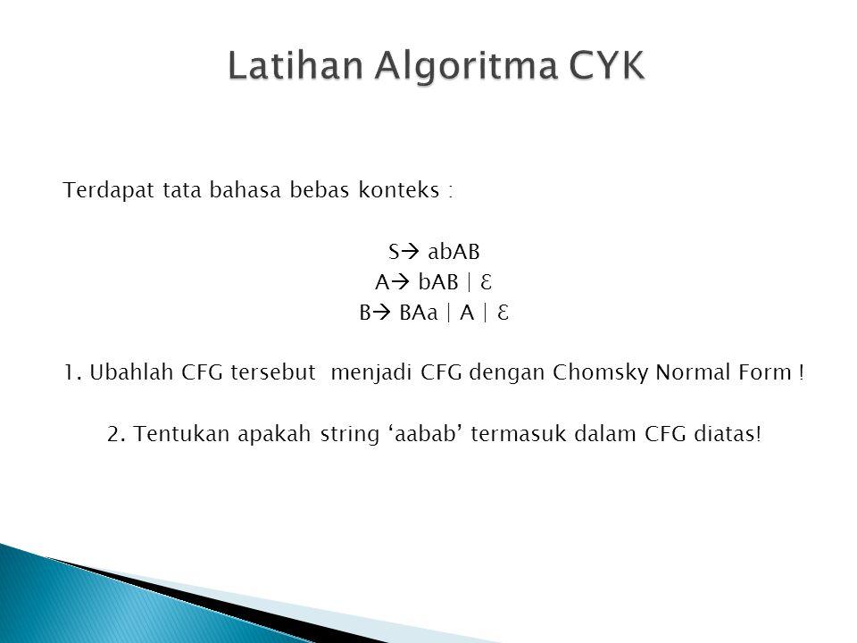 Terdapat tata bahasa bebas konteks : S  abAB A  bAB | ℇ B  BAa | A | ℇ 1. Ubahlah CFG tersebut menjadi CFG dengan Chomsky Normal Form ! 2. Tentukan