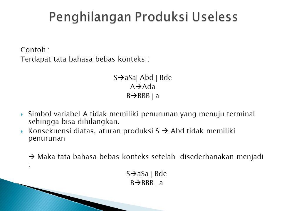 Produksi  adalah produksi dalam bentuk    (nullable) Penghilangan produksi  dilakukan dengan melakukan penggantian produksi yang memuat variabel yang bisa menuju produksi .
