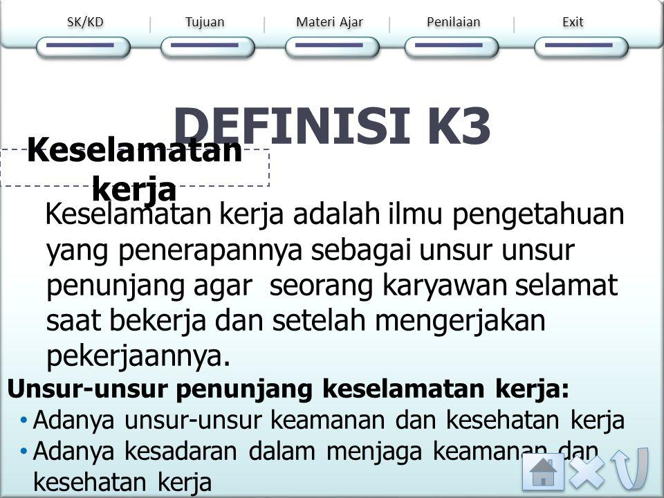 MATERI AJAR Definis i K3 Peran K3 Tujua n K3 Dasar huku m k3 Prosedu r penceg ahan kecelak aan kerja Pilih salah satu menu SK/KD Tujuan Materi Ajar Penilaian Exit