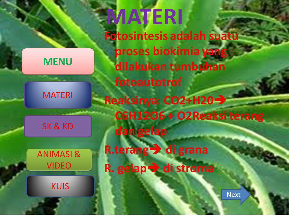 MENU MATERI ANIMASI & VIDEO ANIMASI & VIDEO KUIS SK & KD MATERI Fotosintesis adalah suatu proses biokimia yang dilakukan tumbuhan fotoautotrof Reaksin