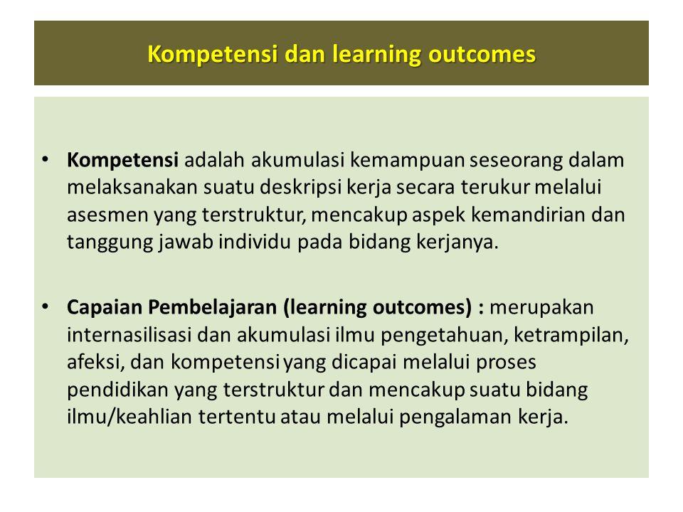 Kompetensi dan learning outcomes • Kompetensi adalah akumulasi kemampuan seseorang dalam melaksanakan suatu deskripsi kerja secara terukur melalui ase