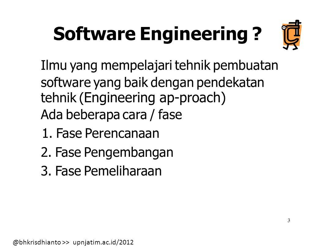 @bhkrisdhianto >> upnjatim.ac.id/2012 14 Model Software Engineering (cont.) 3.
