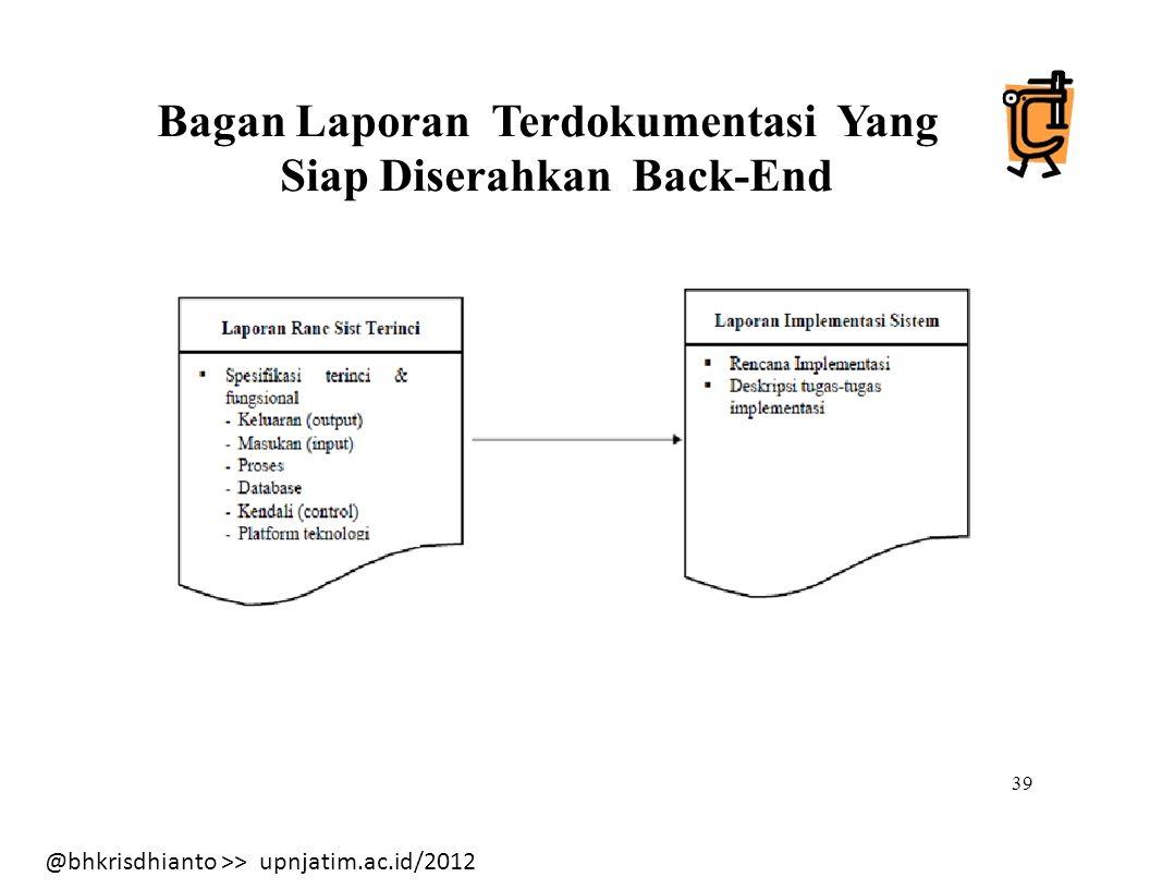 @bhkrisdhianto >> upnjatim.ac.id/2012 Bagan Laporan Terdokumentasi Yang Siap Diserahkan Back-End 39