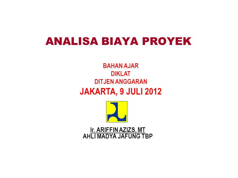 ANALISA BIAYA PROYEK BAHAN AJAR DIKLAT DITJEN ANGGARAN JAKARTA, 9 JULI 2012 Ir.