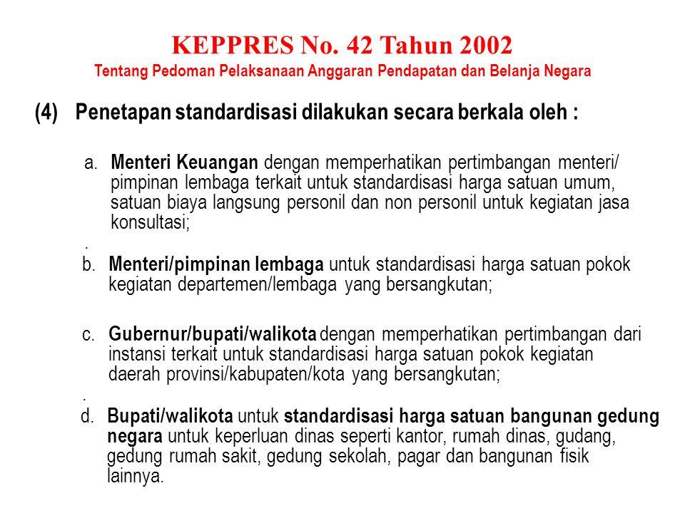 KEPPRES No. 42 Tahun 2002 Tentang Pedoman Pelaksanaan Anggaran Pendapatan dan Belanja Negara Pasal 14 (1)Dalam melaksanakan belanja negara dilakukan s