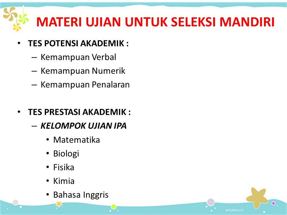 SELEKSI MANDIRI Persyaratan:  Warga Negara Indonesia, atau Warga Negara Asing yang mendapat izin belajar dari Kementerian Pendidikan Nasional.  Lulu