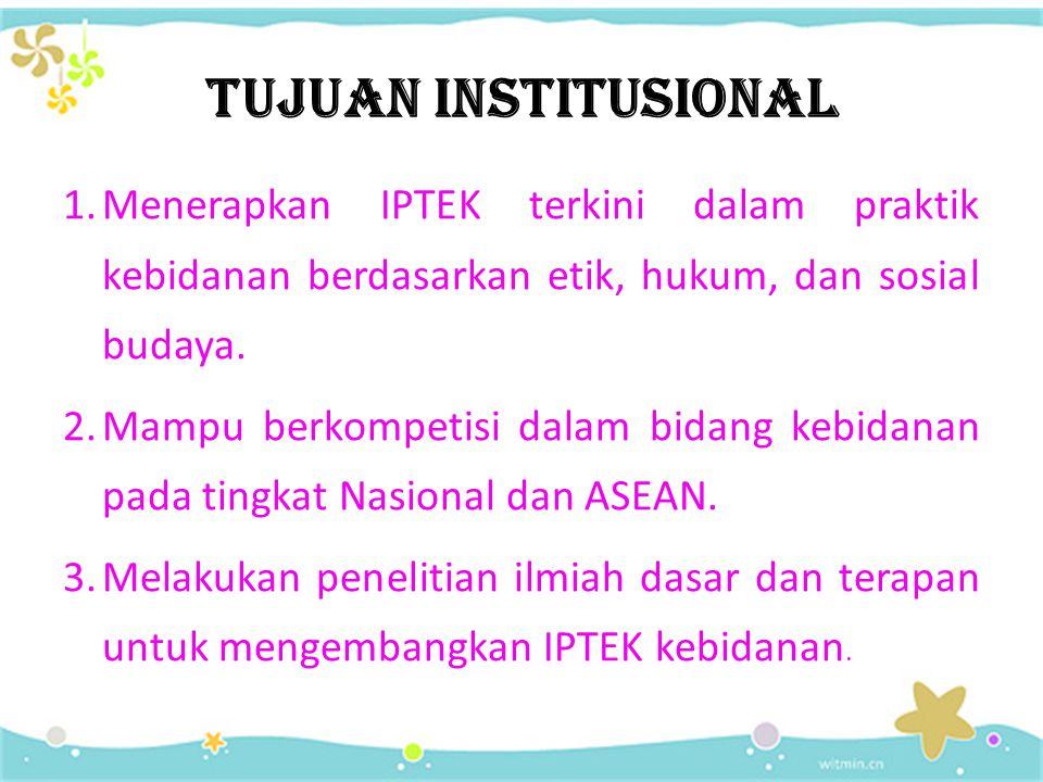 TUJUAN INSTITUSIONAL 1.Menerapkan IPTEK terkini dalam praktik kebidanan berdasarkan etik, hukum, dan sosial budaya.