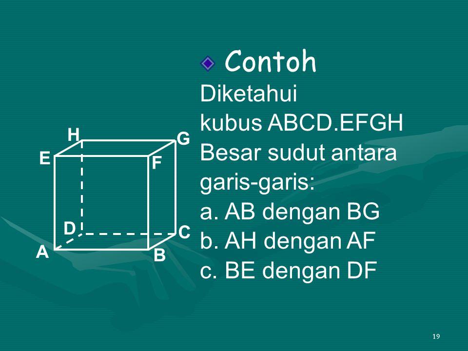19 Contoh Diketahui kubus ABCD.EFGH Besar sudut antara garis-garis: a. AB dengan BG b. AH dengan AF c. BE dengan DF A B C D H E F G