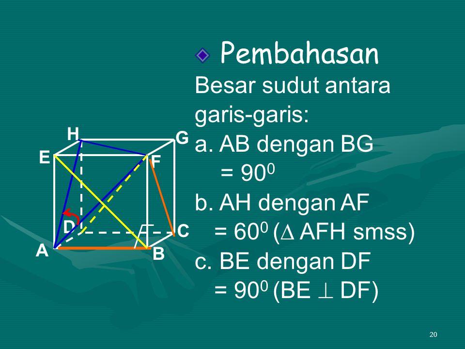 20 Pembahasan Besar sudut antara garis-garis: a. AB dengan BG = 90 0 b. AH dengan AF = 60 0 (∆ AFH smss) c. BE dengan DF = 90 0 (BE  DF) A B C D H E