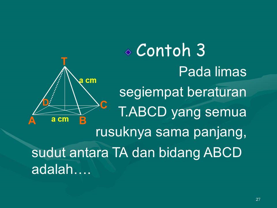 27 Contoh 3 Pada limas segiempat beraturan T.ABCD yang semua rusuknya sama panjang, sudut antara TA dan bidang ABCD adalah…. T AB C D a cm